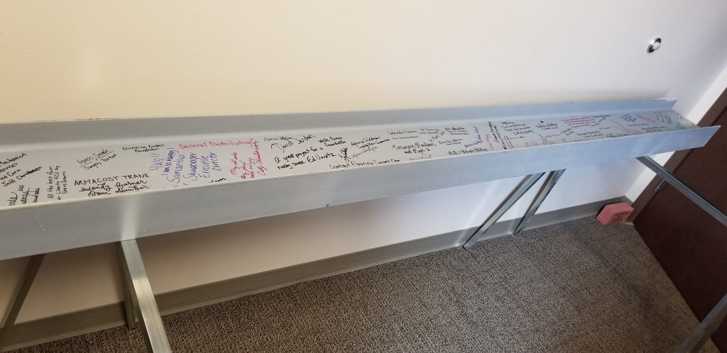 image of I-beam after signatures