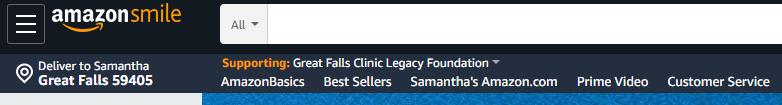 Image showing Amazon Smile Legacy Foundation as selected charity on Amazon Smile